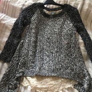 Anthropologie thin sweater raglan w/lace lining xs